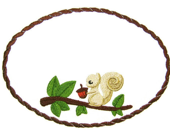 Squirrel and his Nut embroidered quilt label to customize with your personal message