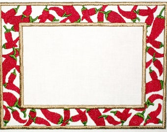 Red hot chili peppers embroidered quilt label, to customize with your personal message
