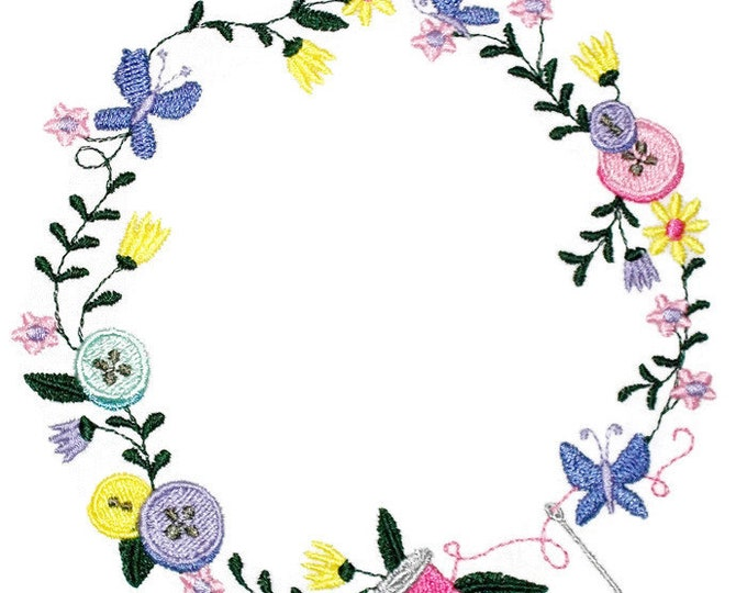 Sewing floral Wreath Embroidered Quilt Label to customize with your personal message