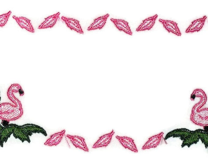 Pink Flamingo embroidered quilt label to personalize with your own message