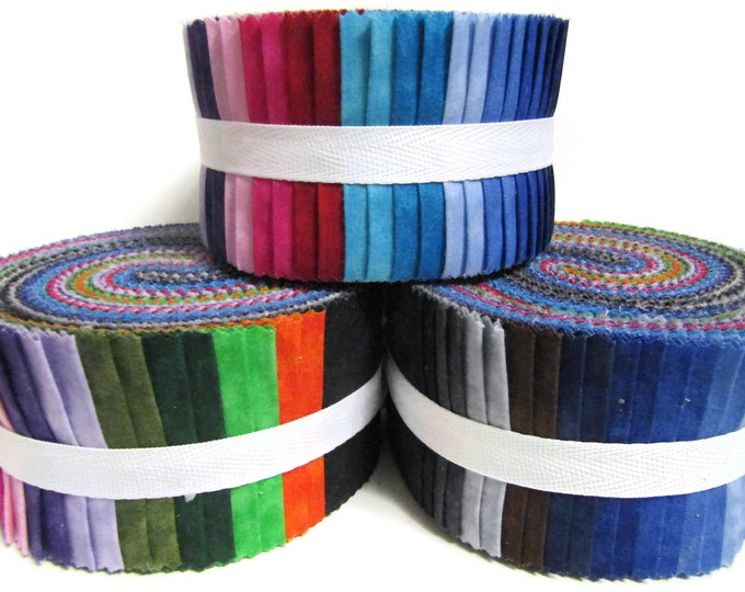 "Rainbow of Colours, Jelly roll, 40 strips x 2.5"" wide 100% Cotton"