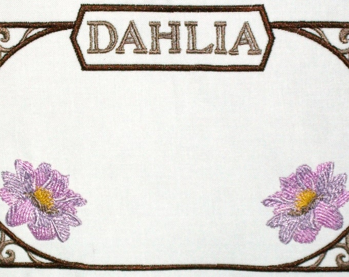 Dahlia floral embroidered quilt label, to customize with your personal message