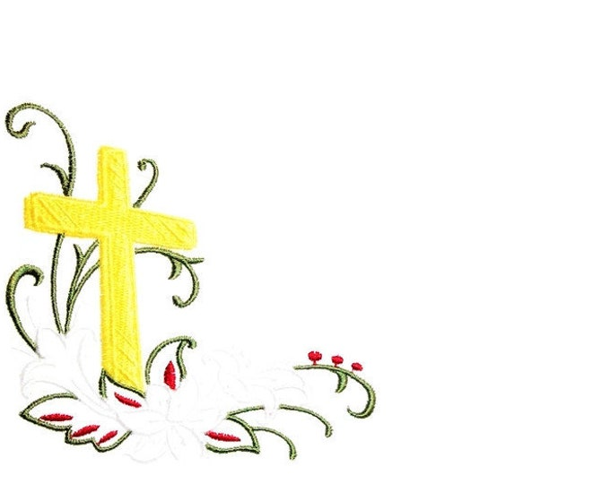 Easter Lily Cross embroidered quilt label to customize with your personal message