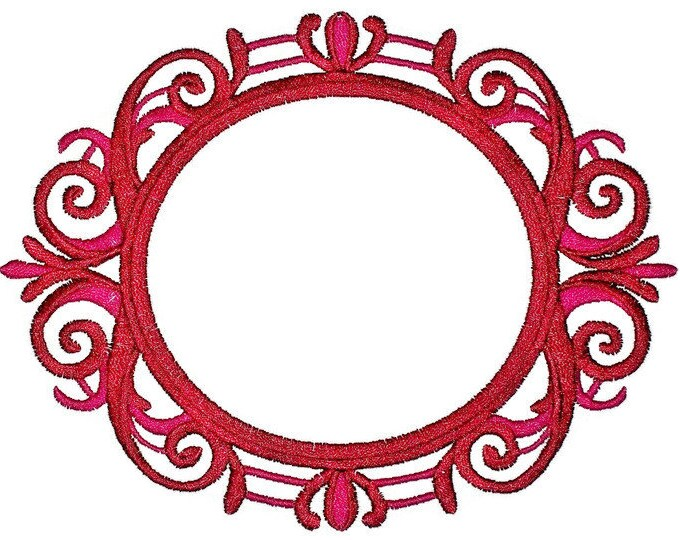 Round scrollwork framed Embroidered Quilt Label to customize with your personal message