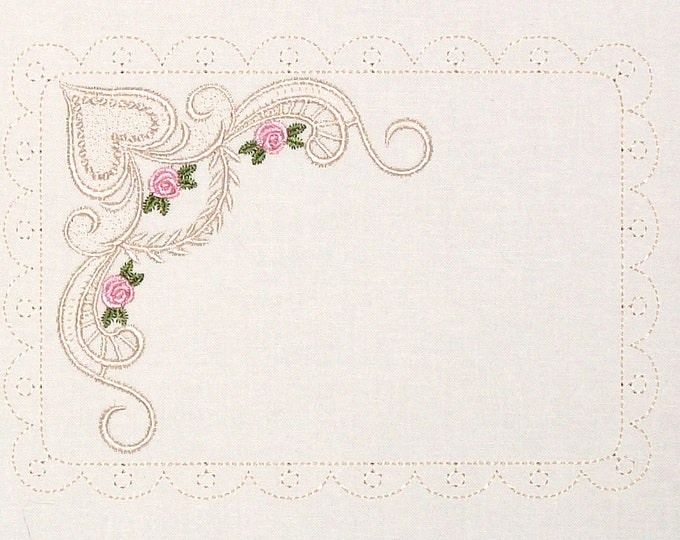 Roses and Lace embroidered quilt label for blocks or tops, to customize with your personal message