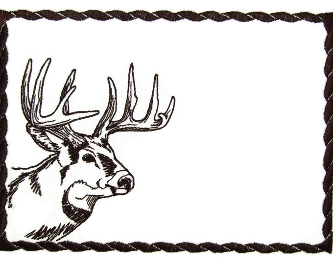 Deer profile embroidered quilt label to customize with your personal message