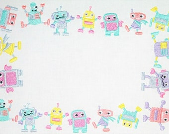 Fun Pastel Robots embroidered quilt label, to customize with your personal message