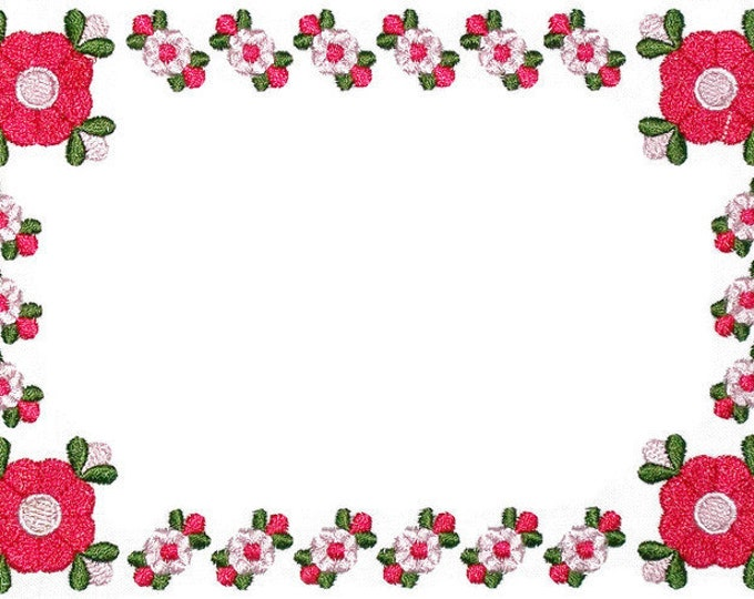 Art Deco floral rose embroidered quilt label to customize with your personal message