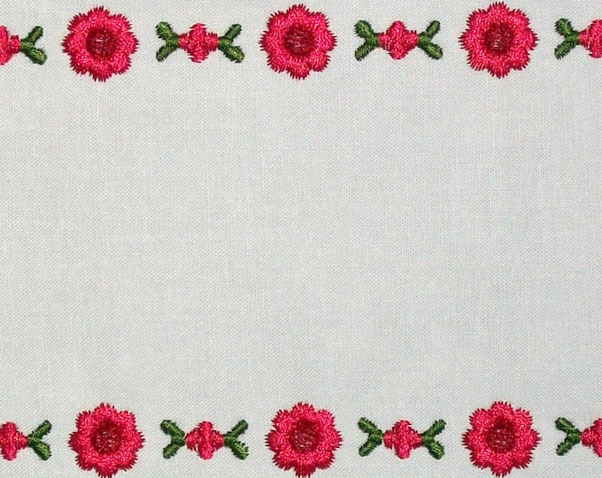Red rose embroidered quilt label to customize with your personal message