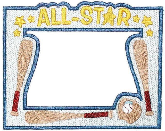 Baseball framed embroidered quilt label, to customize with your personal message