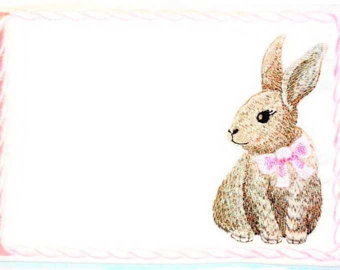 Bunny Rabbit embroidered quilt label to customize with your personal message
