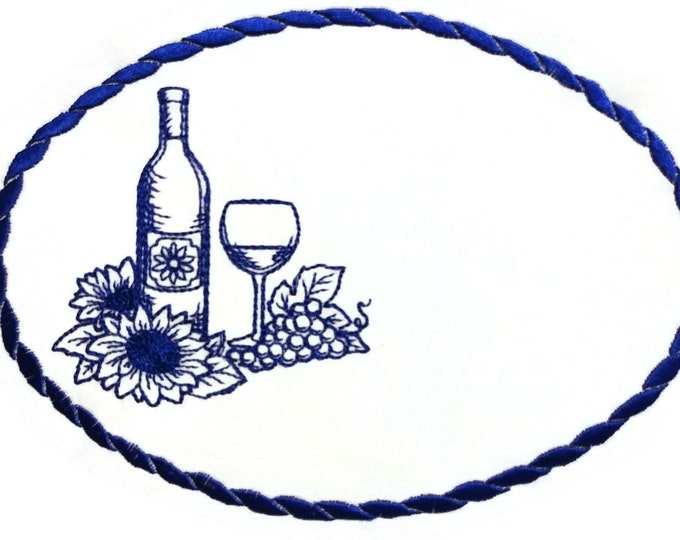 Wine bottle embroidered quilt label to customize with your personal message
