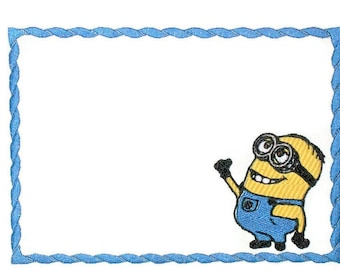 Minion embroidered quilt label to customize with your personal message