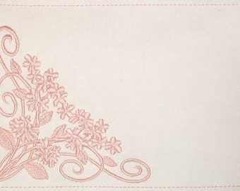 Blooming blossoms Floral embroidered quilt label to customize with your personal message