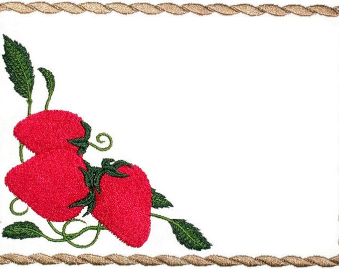 Strawberry framed embroidered quilt label, to customize with your personal message