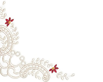 Red floral filigree embroidered quilt label to customize with your personal message