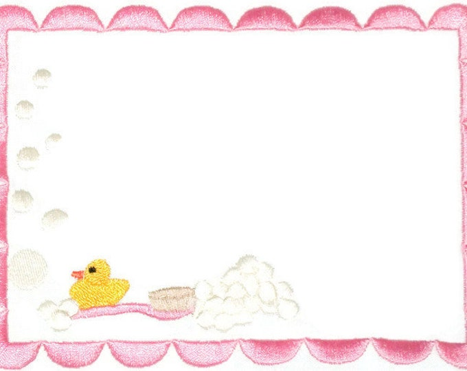 Rubber ducky embroidered quilt label, to customize with your personal message