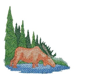 Wilderness Moose scene Embroidered Quilt Label to customize with your personal message