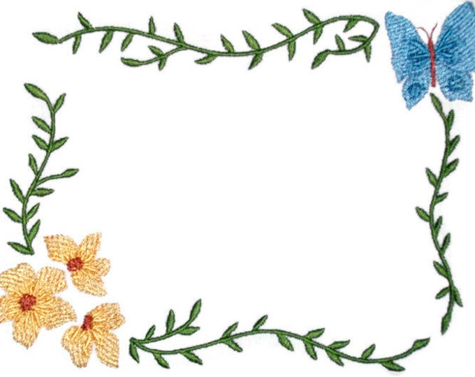 Butterfly floral embroidered quilt label, to customize with your personal message