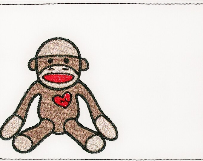Sock Monkey Embroidered Quilt Label to customize with your personal message