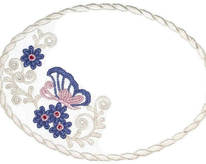 Butterfly floral embroidered quilt label to customize with your personal message
