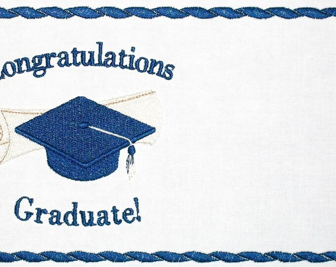 Graduation embroidered quilt label to customize with your personal message