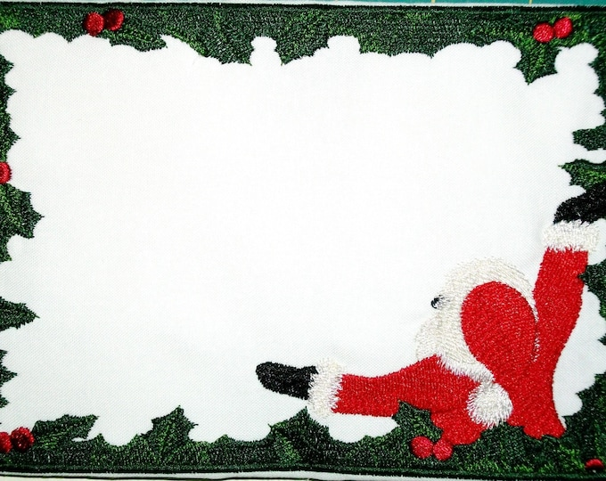 Santa & holly framed embroidered quilt label to customize with your personal message