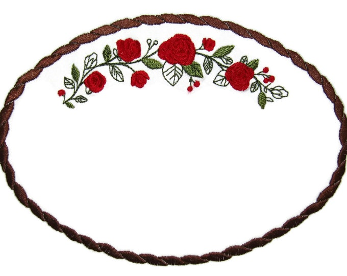 Red Rose swag embroidered quilt label to customize with your personal message