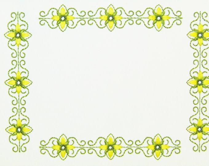 Floral Filigree scroll embroidered quilt label to customize with your personal message