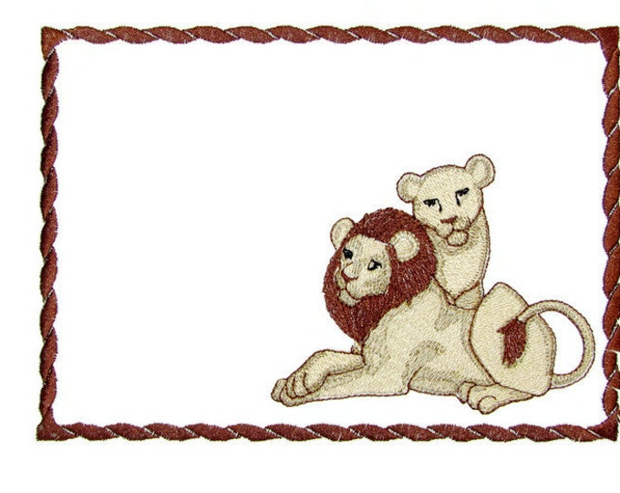 Wild Lions embroidered quilt label to customize with your personal message