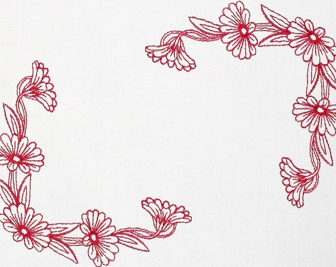 Redwork floral embroidered quilt label to customize with your personal message