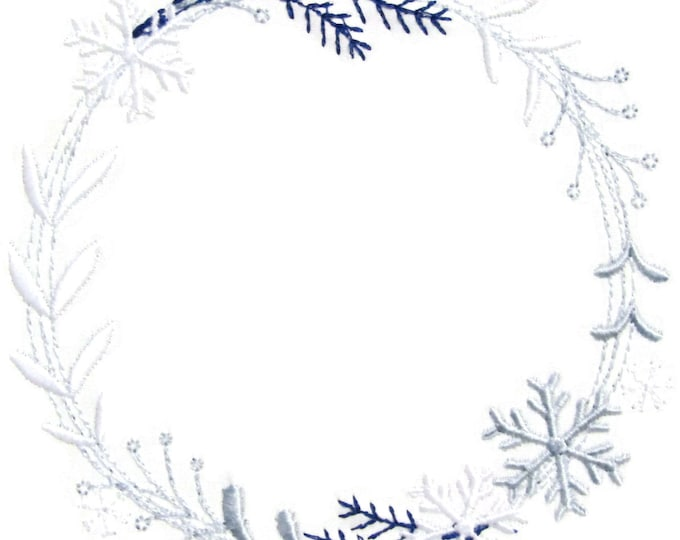 Snowflake Wreath embroidered quilt label to customize with your personal message