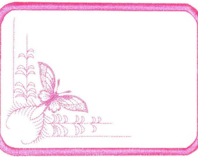 Pink Butterfly embroidered quilt label to customize with your personal message