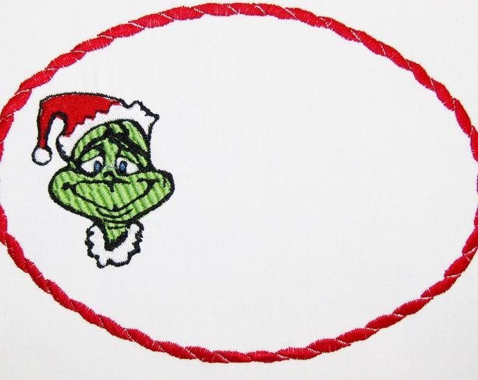 The Grinch embroidered quilt label to customize with your personal message
