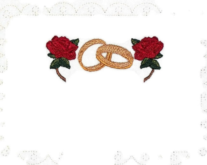 Wedding rings & roses embroidered quilt label, to customize with your personal message