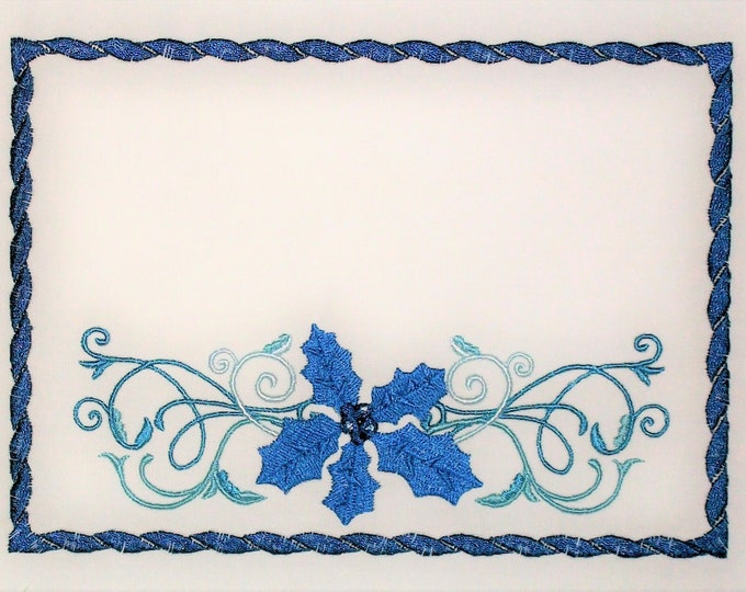 Blue Christmas Holly embroidered quilt label to customize with your personal message