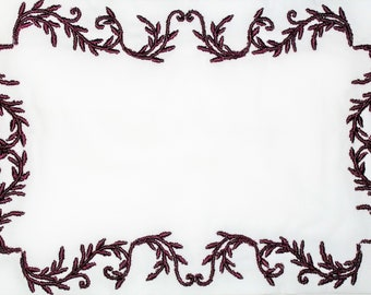 Filigree frame embroidered quilt label, to customize with your personal message