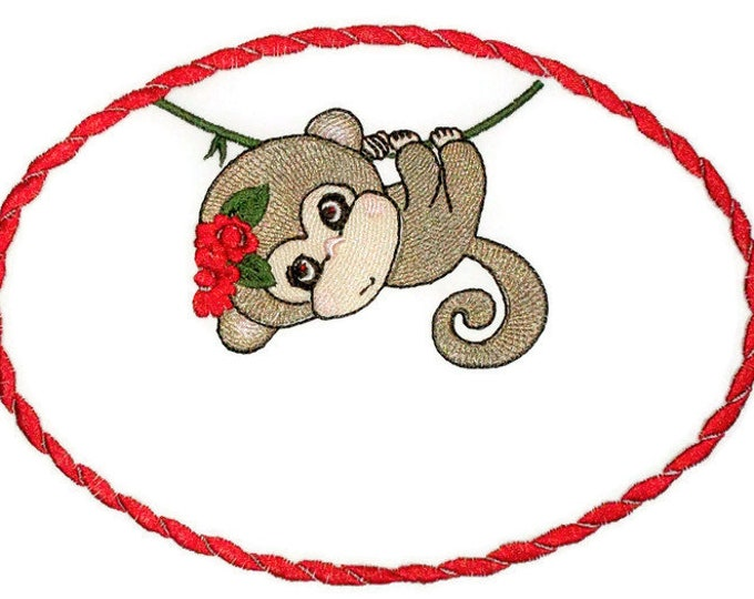 Little Monkey Embroidered quilt label to customize with your personal message