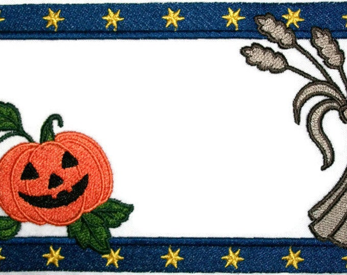 Pumpkin & Wheat embroidered quilt label, to customize with your personal message