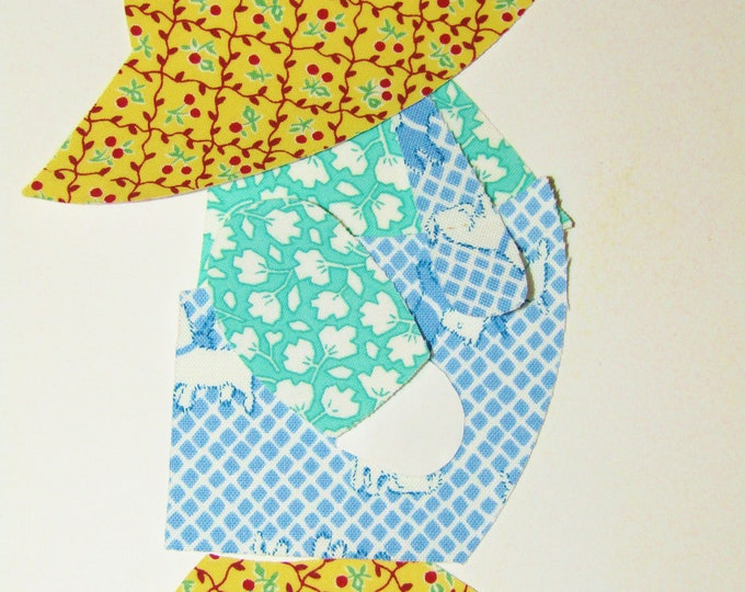 Overall Sam set of 12 Appliques with fusible web 1930's Reproduction fabric prints