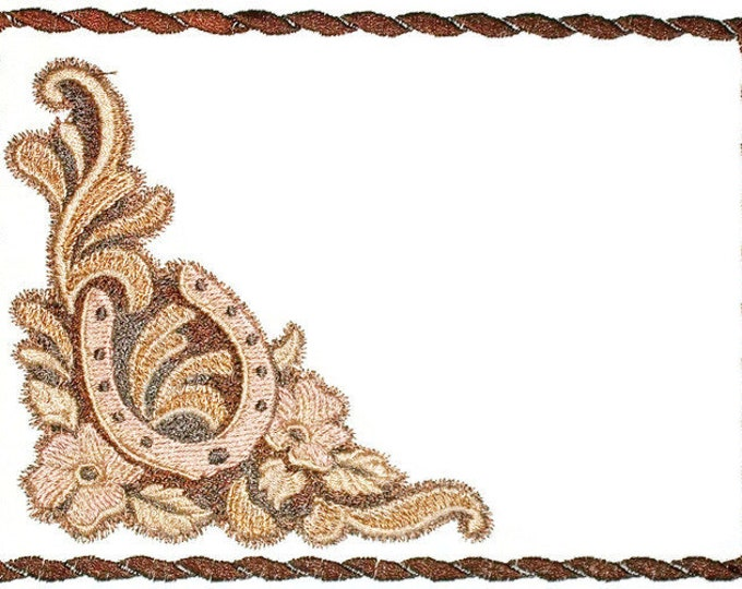 Leather work cowboy, cowgirl horseshoe quilt label to customize with your personal message