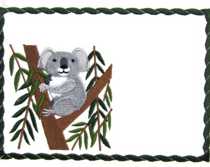 Koala embroidered quilt label to customize with your personal message