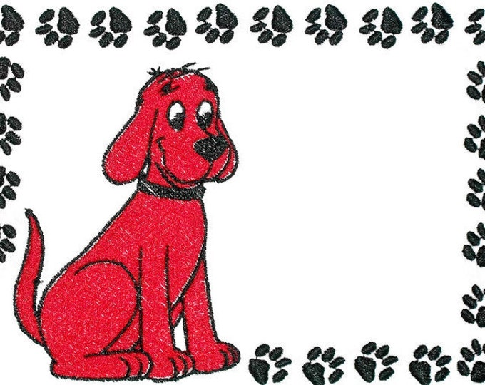 Clifford the big red dog Embroidered Quilt Label to customize with your personal message