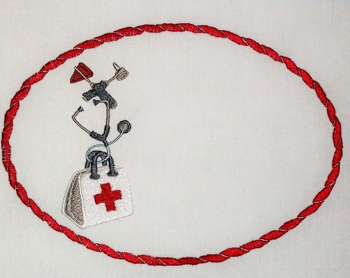 Medical nurrsing themed embroidered quilt label to personalize