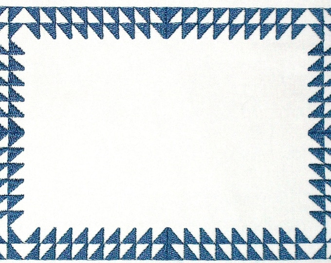Half square triangle embroidered quilt label to customize with your personal message