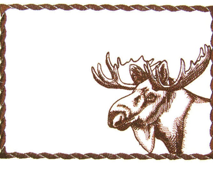North woods Moose embroidered quilt label to customize with your personal message