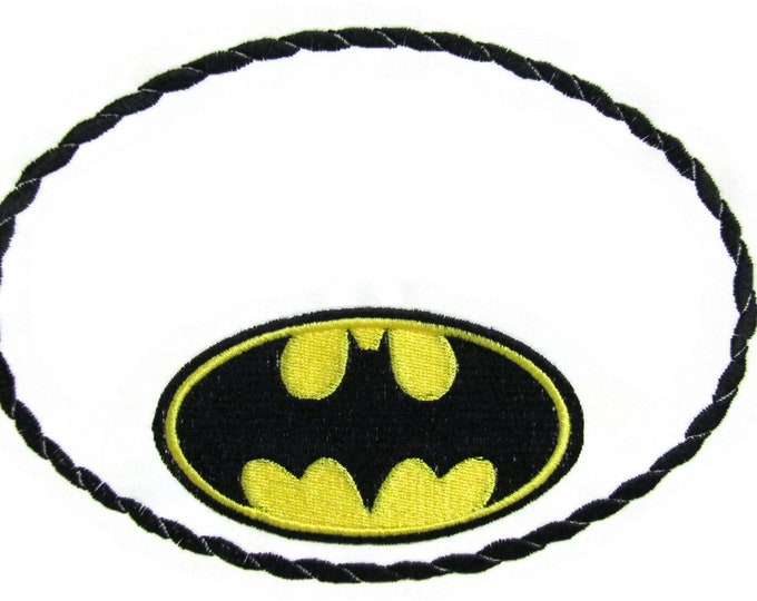 Batman embroidered quilt label to customize with your personal message