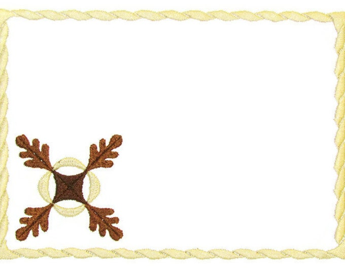 Oak Leaf motif Embroidered Quilt Label to customize with your personal message