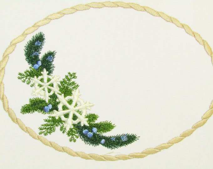 Juniper bush embroidered quilt label to customize with your personal message