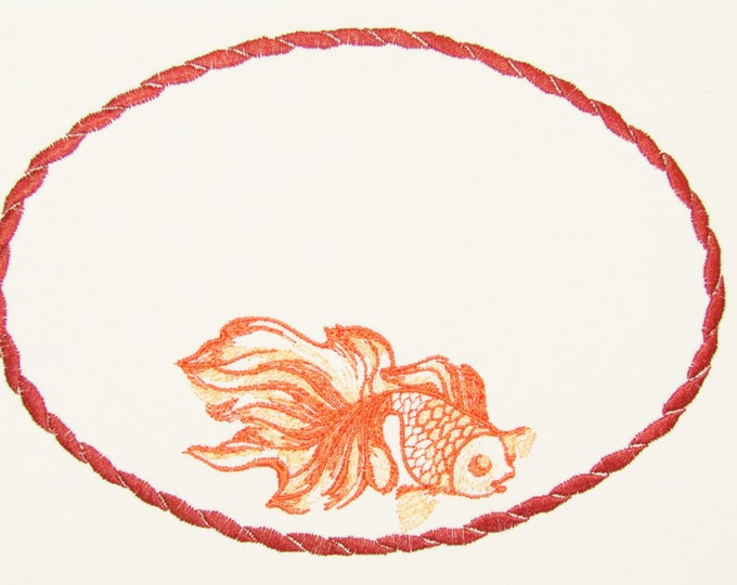 Goldfish embroidered quilt label to customize with your personal message